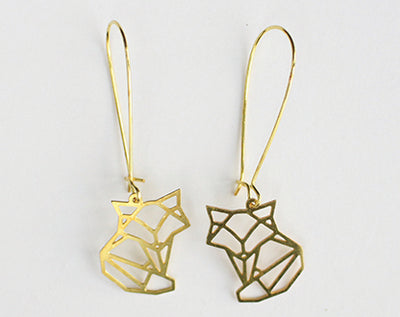 A Tea Leaf Jewelry - Fox Geometric Earrings | Brass