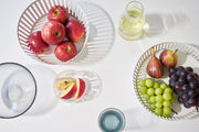 Yamazaki Home - White Wild Tower Striped Steel Fruit Basket