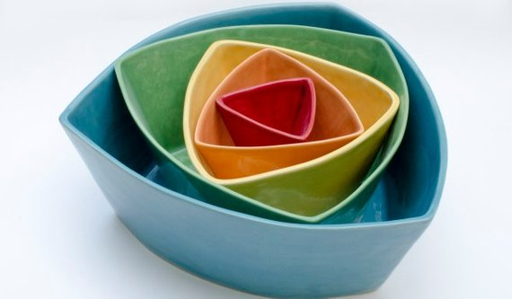 From Donna's Hands - Ceramic Triangle Nesting Bowls