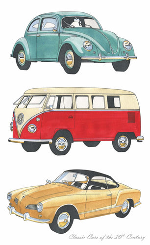Tea Towel - Classic Cars Volkswagons