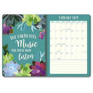 Orange Circle On-Time Weekly Planner 2019 Succulent Paradise