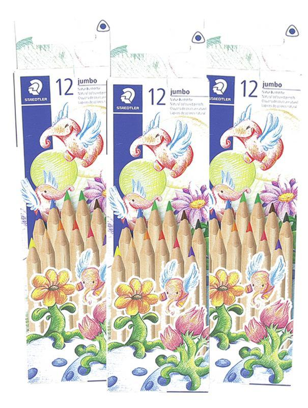 Pencils Staedtler Jumbo Natural Tri Coloured 12's