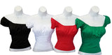 Solid Colors Peasant Style Bodice Tops