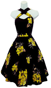 Floral Print Vintage Cross Strap Halter Style Dress PLUS Size (Pack of 6)