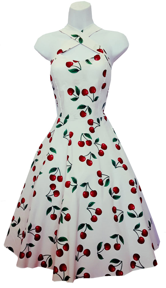 Cherry Print Vintage Cross Strap Halter Style Dress (Pack of 6)