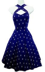 Royal Blue Anchor All over Print Vintage Cross Strap Halter Style Dress (Pack of 6)