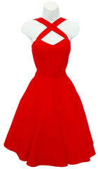 Solid Red Vintage Cross Strap Halter Style Dress PLUS Size (Pack of 6)