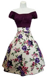 Floral Bouquet Print Vintage Style Skirt & Top  Pair Set (Pack of 6)