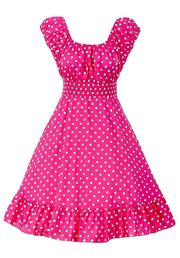 Polka Dot Prints Peasant Smock Vintage Style Dress PLUS Size (Pack of 6)
