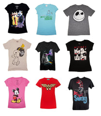 Womens Asstd REGULAR Sizes S - 2XL Licensed T-shirts ($4 ea- 24 pcs in a Pack)