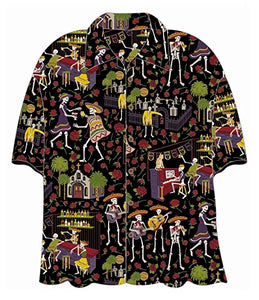 "Mens ""Day of the Dead"" Hawaiian Aloha Button Down Shirt"