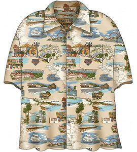 "Mens ""San Diego"" Hawaiian Aloha Button Down Shirt"