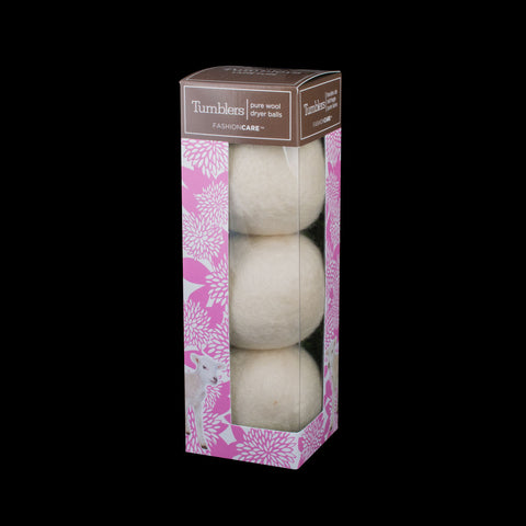 Forever New Tumblers, pure wool Dryer Balls, white