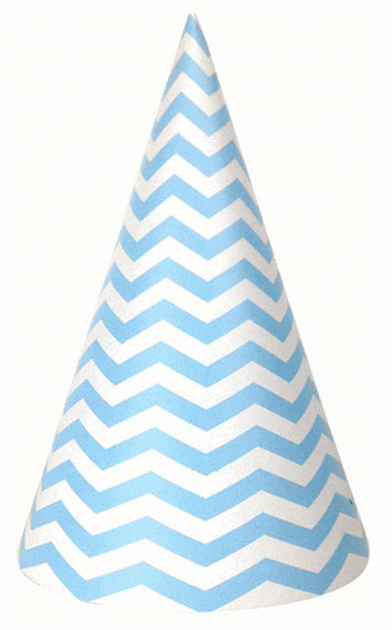 Party hat with blue, chevron stripes - set of 10 hats