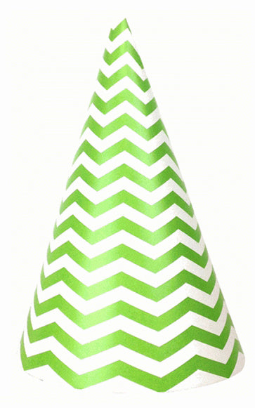 Party hat with green, chevron stripes - set of 10 hats