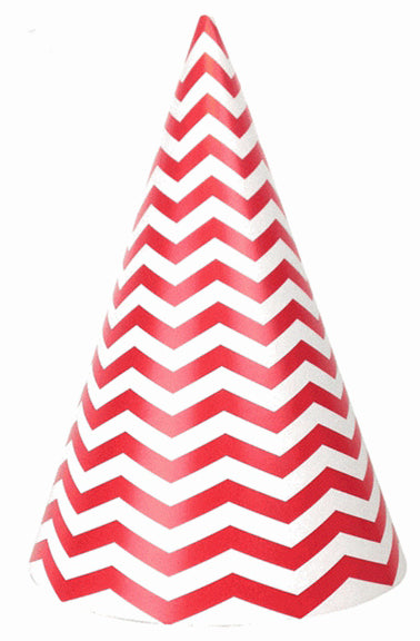 Party hat with red, chevron stripes - set of 10 hats
