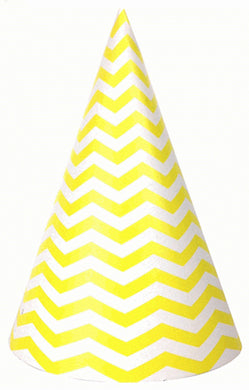 Party hat with yellow, chevron stripes - set of 10 hats