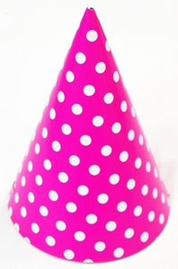 Party hat - pink with white polka dots - set of 10 hats