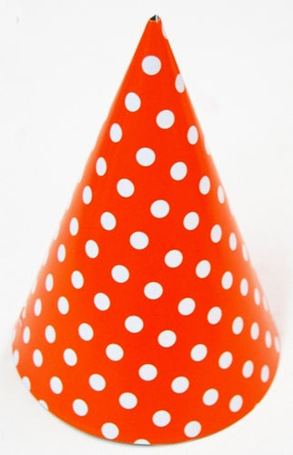 Party hat - red with white polka dots - set of 10 hats