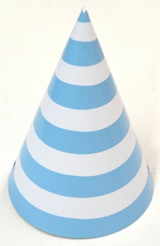 Party hat with blue stripes - set of 10 hats