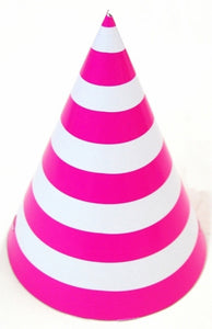 Party hat with bright pink stripes - set of 10 hats