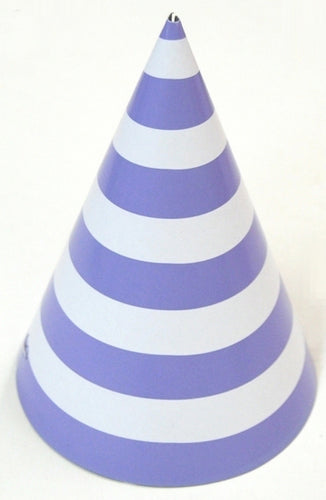 Party hat with purple stripes - set of 10 hats