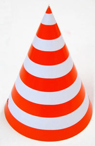 Party hat with red stripes - set of 10 hats