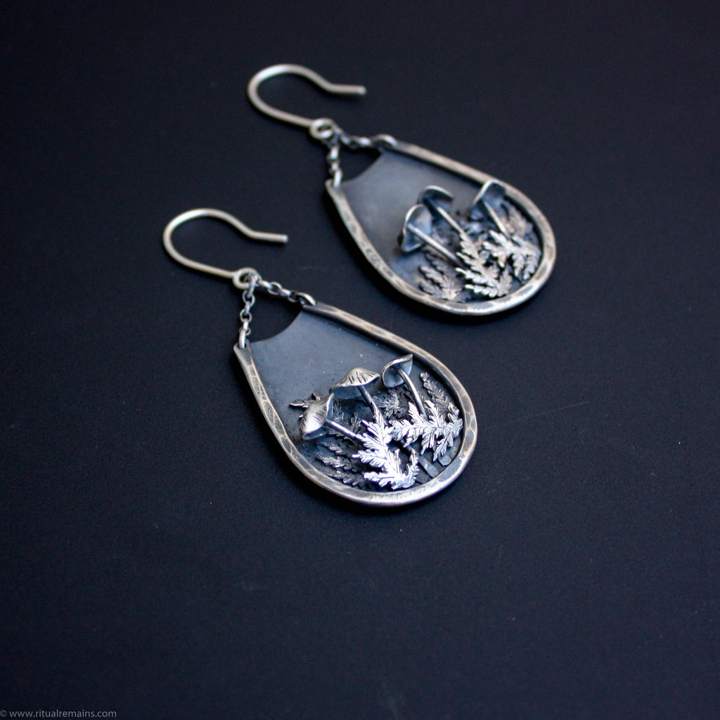 Fairy Circle Sterling Silver Mushroom and Fern Earrings