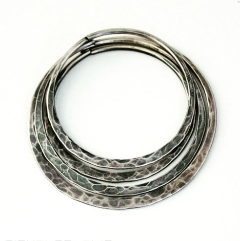 10g Hammered Silver Hoop Earrings For Stretched Ears