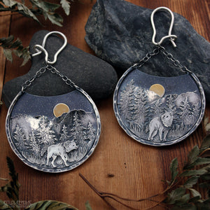 The Long Night Sterling Silver and Gold 12 Gauge Ear Weights