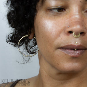 Brass Hammered Hoop Earrings For Stretched Ears 10 Gauge Ritual
