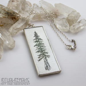 Redwood India Ink and Sterling Silver Pendant