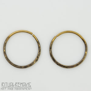 10g Hammered Brass Hoop Earrings For Stretched Ears