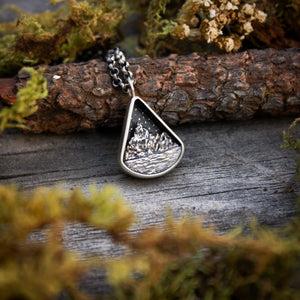 Peaceful Lake Sterling Silver Triangle Miniscape Pendant