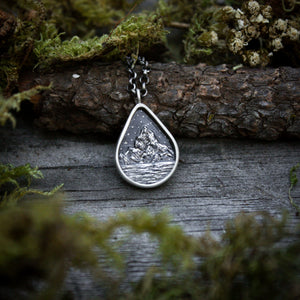 Peaceful Waters Sterling Silver Teardrop Miniscape Pendant