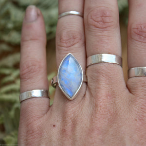 Transitions Marquise Moonstone Sterling Silver Moon Phase Ring US Size 7.25