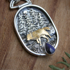 Wild Wander- 24k Gold and Silver Pendant with Labradorite