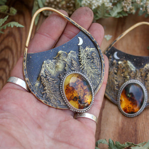Tranquil Forest- 10 Gauge Brass Landscape Earrings with Amber