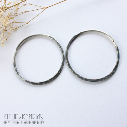 Sterling Silver Hammered Hoop Earrings For Stretched Ears- 10 Gauge