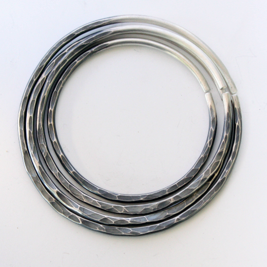 Sterling Silver Hammered Hoop Stacking Set For Stretched Ears 10g