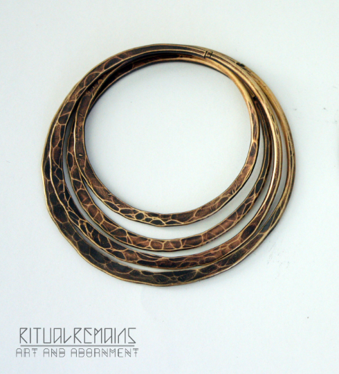 Brass Hammered Hoop Stacking Set For Stretched Ears 10g