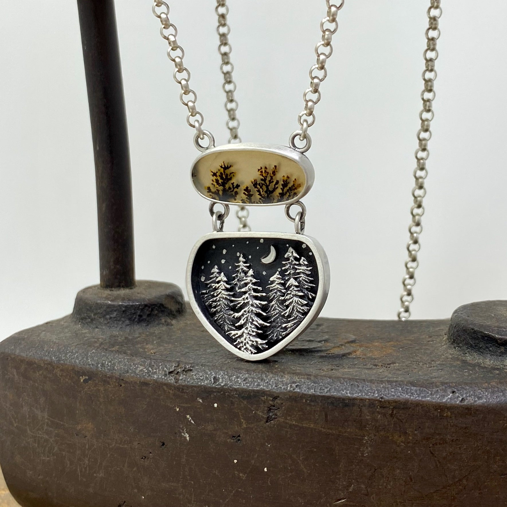 Dendritic Agate Forest Pendant