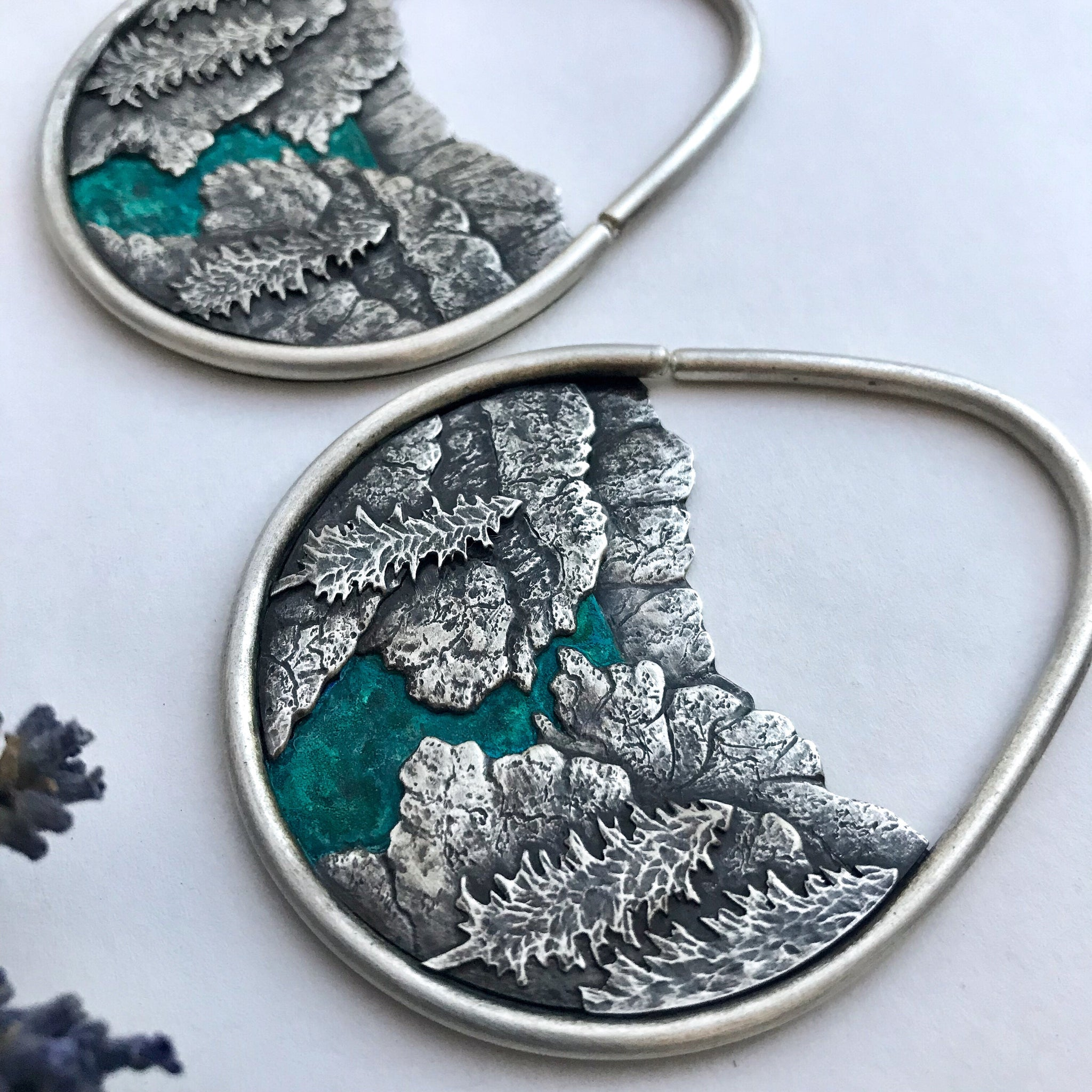 10g SALE Silver Fjord Landscape Earrings For Stretched Ears
