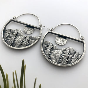 Moonrise Earrings With Trees