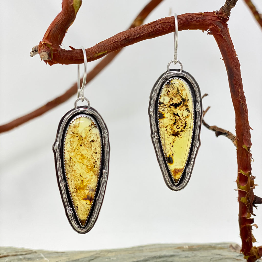 Amber Twig Earrings