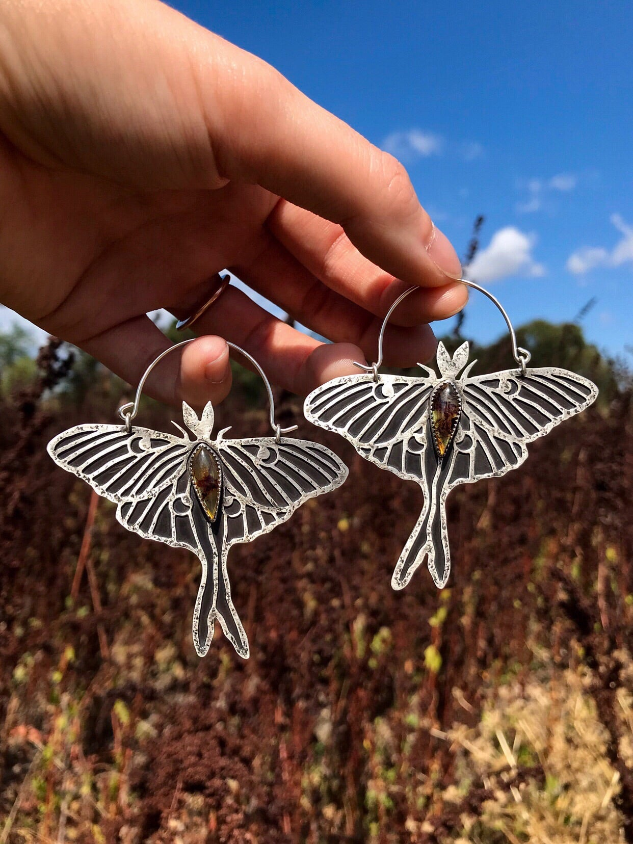 SALE Amber Luna Moth Earrings
