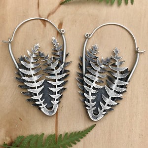 Silver Ferns Dendritic Agate Earrings