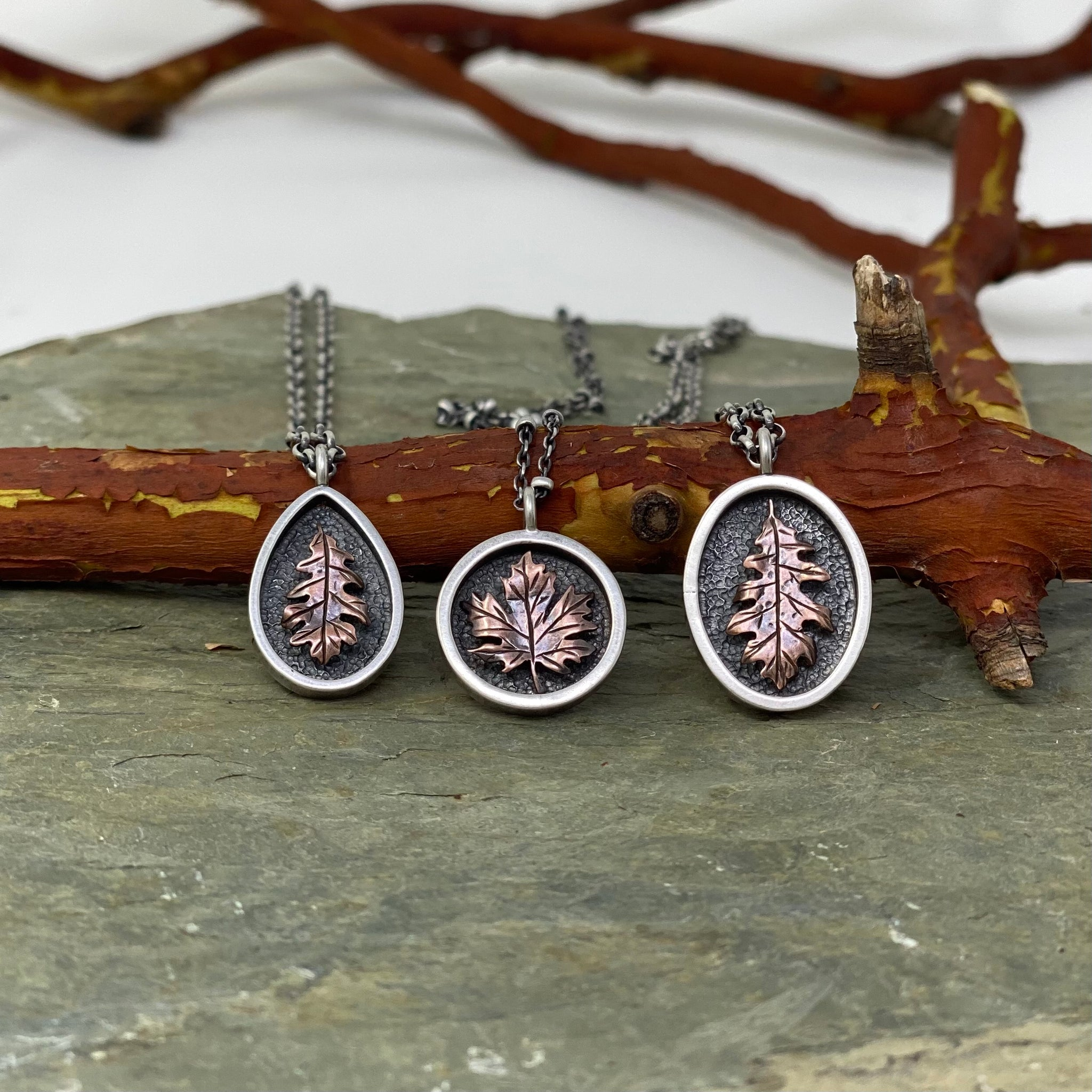 Mini Autumn Leaves Copper & Sterling Silver Pendants