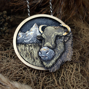 Prairie's Edge- Brass, Fine Silver and Gold Bison Pendant