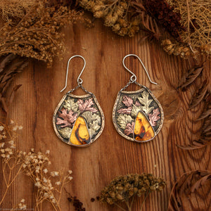 Autumn Leaves Standard Mixed Metal Earrings with Amber